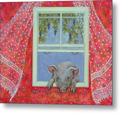 Grapes At The Window Metal Print by Ditz