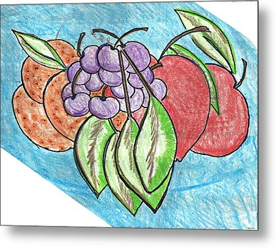 Grapes Metal Print by Becky Sterling
