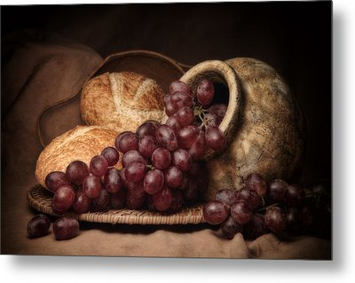 Grapes With Bread Still Life Metal Print by Tom Mc Nemar