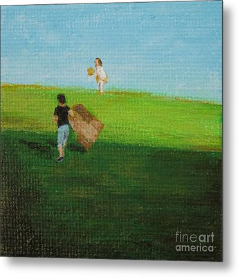 Grass Sledding  Metal Print by Amber Woodrum