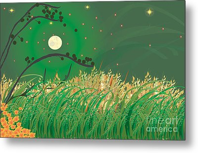 Grasses In The Wind Metal Print by Kim Prowse
