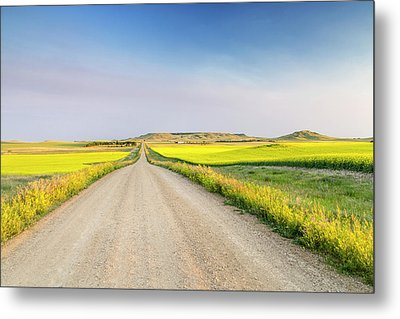 Gravel Road To West Rainy Butte Metal Print by Chuck Haney