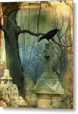 Graveyard Cross Metal Print by Gothicrow Images