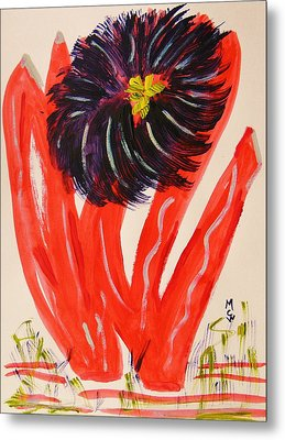 Gray And Vermillion Metal Print by Mary Carol Williams