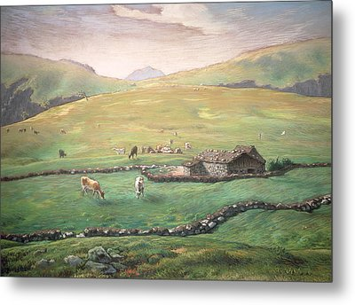 Grazing In The Vosges Metal Print by Jean-Francois Millet