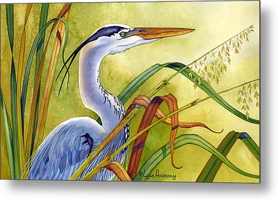 Great Blue Heron Metal Print by Lyse Anthony