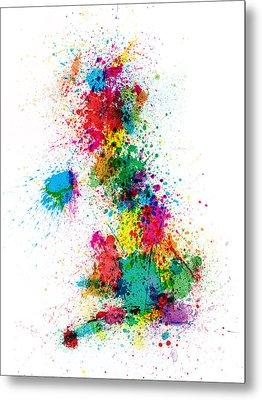 Great Britain Uk Map Paint Splashes Metal Print by Michael Tompsett
