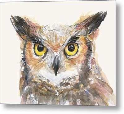 Great Horned Owl Watercolor Metal Print by Olga Shvartsur