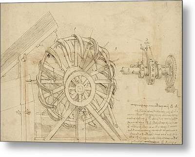 Great Sling Rotating On Horizontal Plane Great Wheel And Crossbows Devices From Atlantic Codex Metal Print by Leonardo Da Vinci