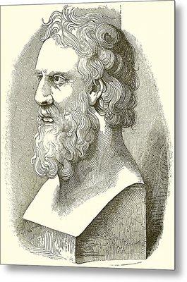 Greek Bust Of Plato Metal Print by English School