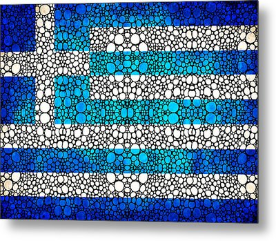Greek Flag - Greece Stone Rock'd Art By Sharon Cummings Metal Print by Sharon Cummings