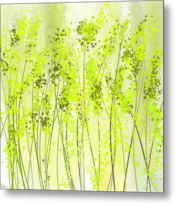 Green Abstract Art Metal Print by Lourry Legarde