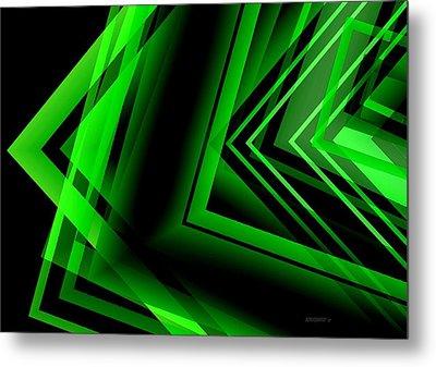 Green Abstract Geometric Metal Print by Mario Perez