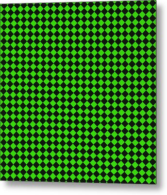 Green And Black Checkered Pattern Cloth Background Metal Print by Keith Webber Jr