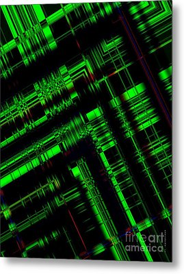 Green And Black In Abstract Geometry Art Metal Print by Mario Perez