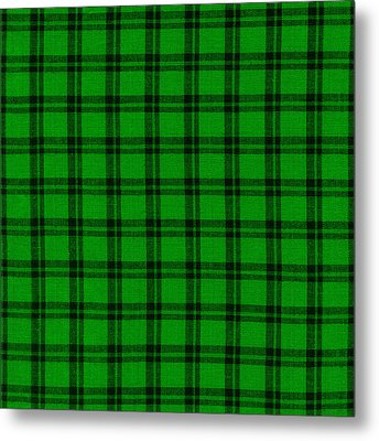 Green And Black  Plaid Cloth Background Metal Print by Keith Webber Jr