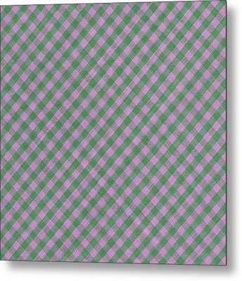Green And Pink Checkered Diagonal Tablecloth Cloth Background Metal Print by Keith Webber Jr