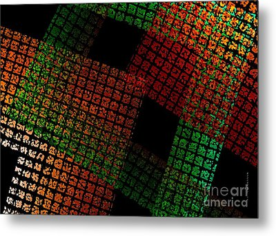 Green And Red Square  Metal Print by Mario  Perez