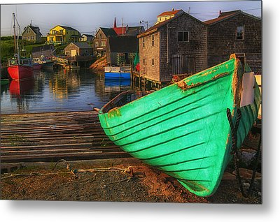 Green Boat Peggys Cove Metal Print by Garry Gay