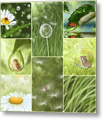 Green Collage Metal Print by Veronica Minozzi