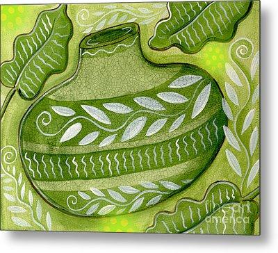 Green Gourd Metal Print by Elaine Jackson