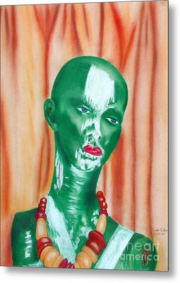 Green Lady Metal Print by Carla Jo Bryant