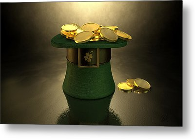 Green Leprechaun Hat Filled With Gold Coins Metal Print by Allan Swart