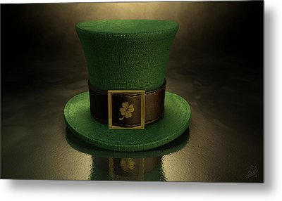Green Leprechaun Shamrock Hat Metal Print by Allan Swart