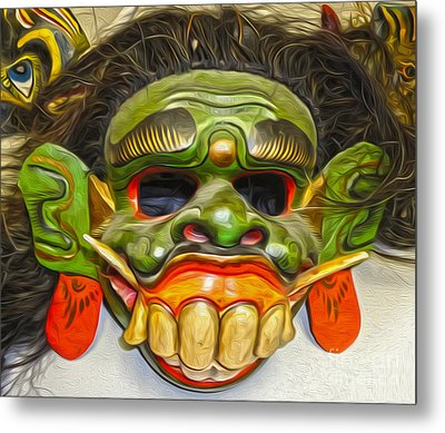 Green Mask Metal Print by Gregory Dyer