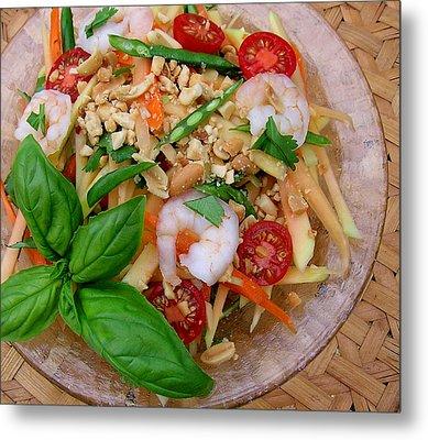 Green Papaya Salad With Shrimp Metal Print by James Temple