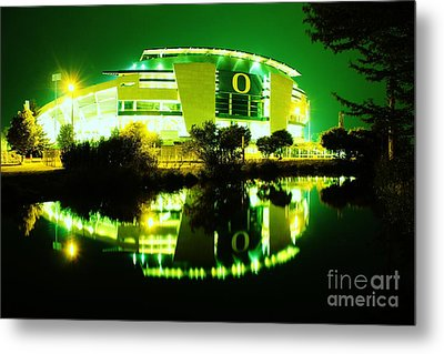Green Power- Autzen At Night Metal Print by Michael Cross