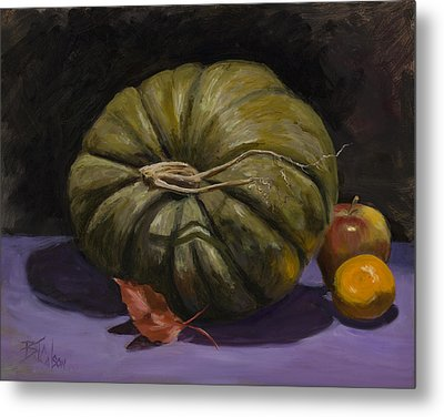 Green Pumpkin With Friends Metal Print by Billie Colson