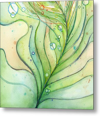 Green Watercolor Bubbles Metal Print by Olga Shvartsur