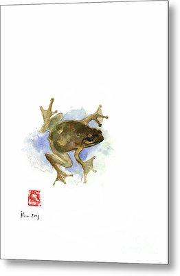 Green Yellow Blue Frog Lake River Animal World Water Colors Jewel Collection Metal Print by Johana Szmerdt