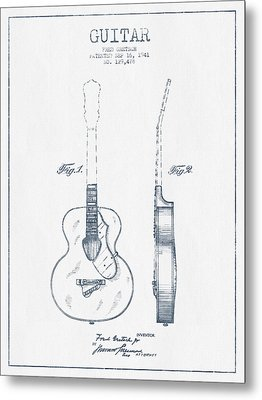 Gretsch Guitar Patent Drawing From 1941 - Blue Ink Metal Print by Aged Pixel