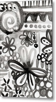 Grey Garden- Abstract Floral Painting Metal Print by Linda Woods