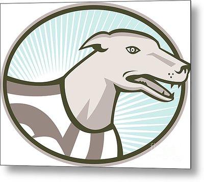 Greyhound Dog Head Retro Metal Print by Aloysius Patrimonio