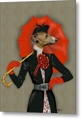 Greyhound Elegant Red Umbrella Metal Print by Kelly McLaughlan