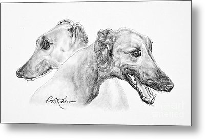 Greyhounds For Two Metal Print by Roy Anthony Kaelin