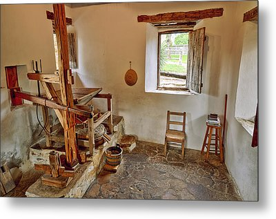 Grist Mill At Mission San Jose - San Antonio Texas Metal Print by Silvio Ligutti