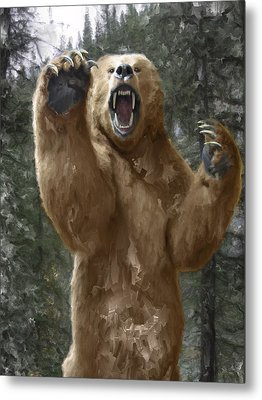 Grizzly Bear Attack On The Trail Metal Print by Daniel Hagerman