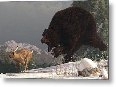 Grizzly Bear Chasing Rabbit Metal Print by Daniel Eskridge