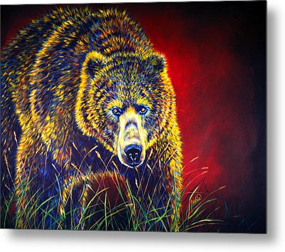 Grizzly Gaze Metal Print by Teshia Art