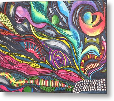 Groovy Series Titled Thoughts Metal Print by Chrisann Ellis
