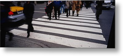 Group Of People Crossing At A Zebra Metal Print by Panoramic Images