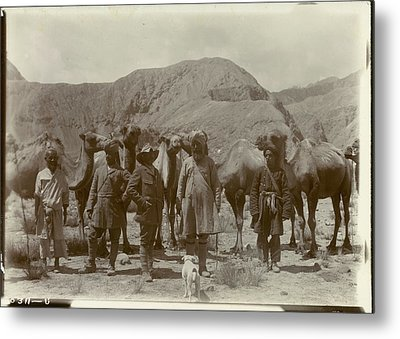 Group Posed With Camels Metal Print by British Library