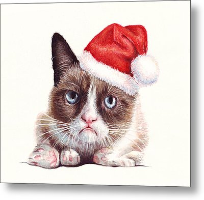 Grumpy Cat As Santa Metal Print by Olga Shvartsur