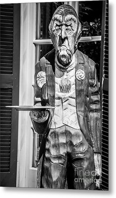 Grumpy Old Waiter Carving Key West - Black And White Metal Print by Ian Monk