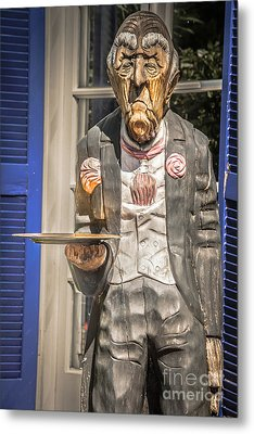 Grumpy Old Waiter Carving Key West - Hdr Style Metal Print by Ian Monk
