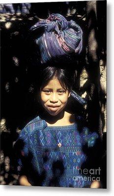Guatemala Smiling Maya Girl Metal Print by John  Mitchell
